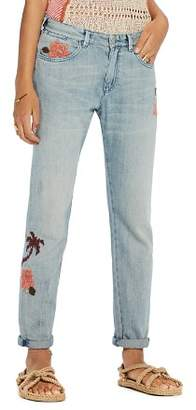 Scotch & Soda Bandit Floral Embroidered Slim Boyfriend Jeans in Blue