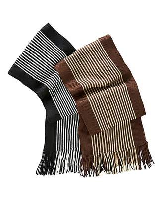Fashion World Set of 2 Mens Striped Scarves