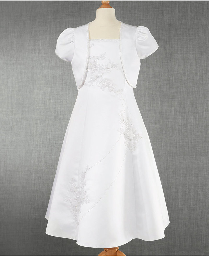 Bonnie Jean Kids Set, Girls Embroidered Communion Dress & Shrug