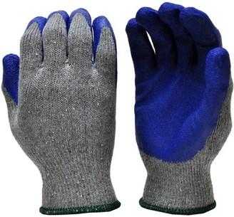 G & F 3100M-DZ Knit Work Gloves, Textured Rubber Latex Coated for Construction, 12-Pairs, Men's Medium