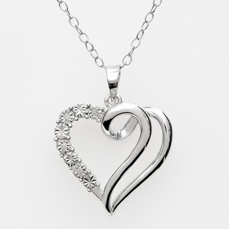 Sterling Silver Diamond Accent Swirl Heart Pendant