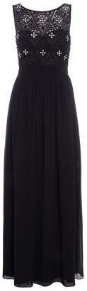 Quiz Black Pearl Detail High Neck Maxi Dress
