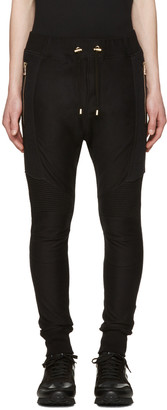Balmain Black Perforated Lounge Pants $965 thestylecure.com