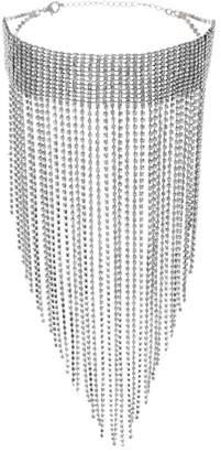 Steve Madden Pave Rhinestone Fringe Choker Necklace