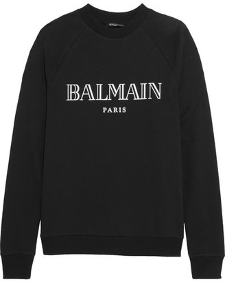 Balmain - Printed Cotton-jersey Sweatshirt - Black $550 thestylecure.com