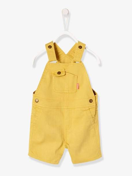 Baby Boys' Short Dungarees in Coloured Fabric - green light solid