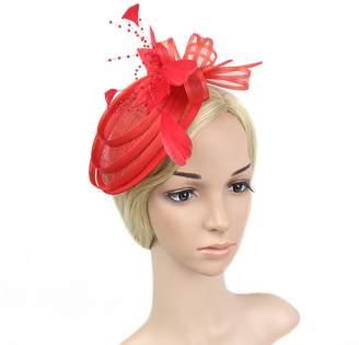 Yiweir Women Fascinator Hat Cocktail Headwear for Bridal Headpiece with  Veil Aqua Mesh Gauze Beaded Kentucky a37a34fecbb
