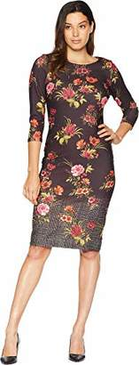ECI New York Women's Printed Floral Crepe Scuba midi Dress with Menswear Border