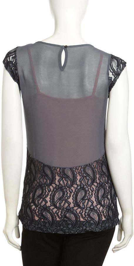 Design History Chiffon-Back Lace Top, Gray