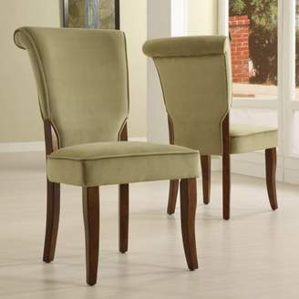 Homelegance Weston Home Olive Velvet Parsons Side Dining Chair, Set of 2, Brown Finish