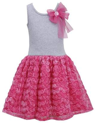 Bonnie Jean Girls-6X Fuchsia- Bow Shoulder Knit to Bonaz Rosette Mesh Overlay Dress