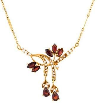 22K Garnet & Diamond Necklace