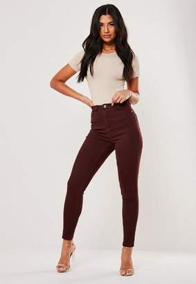 Missguided Burgundy High Waisted Skinny Jeans