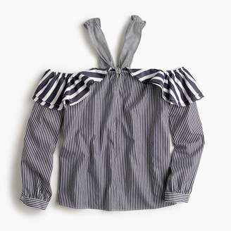 J.Crew Petite Striped off-the-shoulder tie-neck top