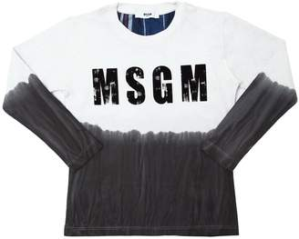 MSGM Tie Dyed Print Cotton Jersey T-Shirt