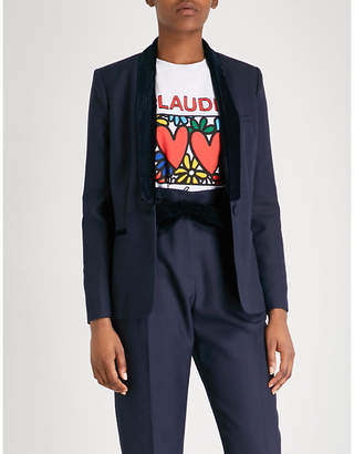 Claudie Pierlot Velvet-trim woven-twill blazer