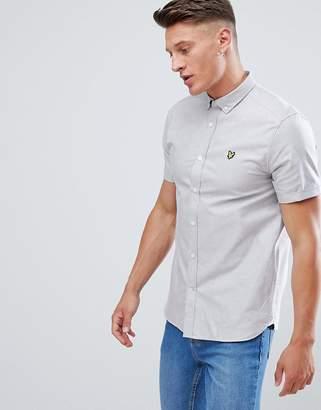 Lyle & Scott button down short sleeve oxford shirt in light grey