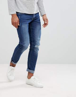 ONLY & SONS Skinny Medium Wash Jeans With Knee Rip