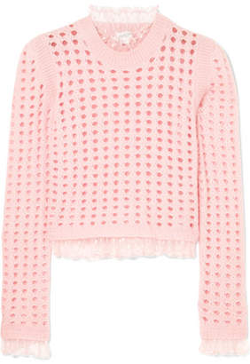 Giambattista Valli Lace-trimmed Open-knit Wool And Mohair-blend Sweater - Pink