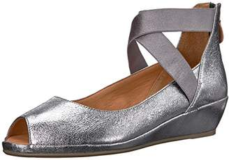 Gentle Souls Kenneth Cole Women's Lisa Low Wedge PEEP Toe Elastic Strap Shoe