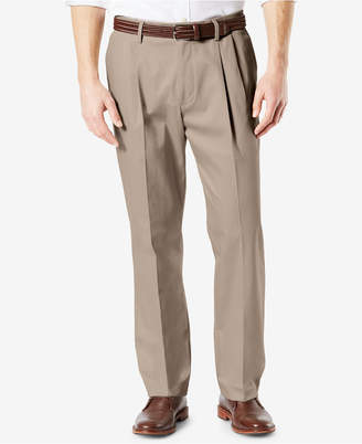 Dockers Signature Classic Fit Pleated Lux Cotton Stretch Khaki Pants D3