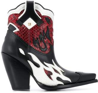 Valentino Rockstud flame cowboy boots