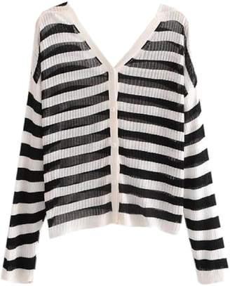 Goodnight Macaroon 'Hazel' Striped Ribbed Lightweight Button-Up Cardigan