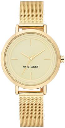 Nine West Women's Gold-Tone Stainless Steel Bracelet Watch 34mm