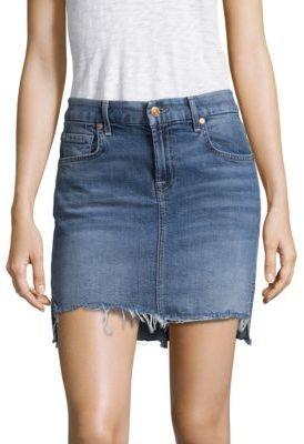 7 For All Mankind Step-Hem Denim Skirt $179 thestylecure.com