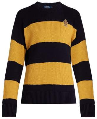 Polo Ralph Lauren - Embroidered Crest Striped Cotton Sweater - Mens - Yellow Multi
