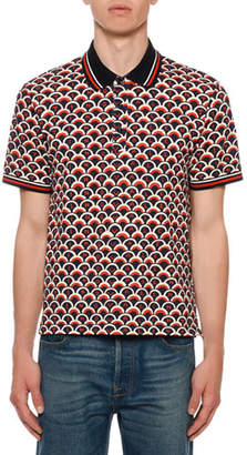 Valentino Men's Retro Logo Scales Polo Shirt