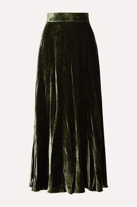 ARoss Girl x Soler Alex Velvet Maxi Skirt - Forest green