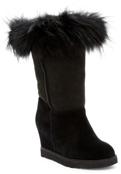 Australia Luxe Collective Australia Luxe Collective Foxy Tall Hidden Wedge Genuine Fox Fur and Shearling Boot