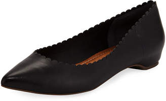 Carrano Genevieve Scallop Leather Flat, Black
