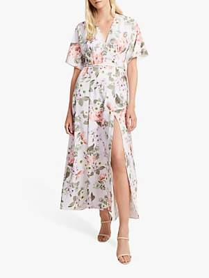French Connection Armoise Maxi Wrap Dress, Lavender Frost Multi