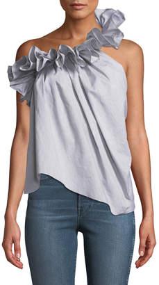 Marques Almeida Marques'almeida One-Shoulder Ruffled-Neck Asymmetric Cotton Top