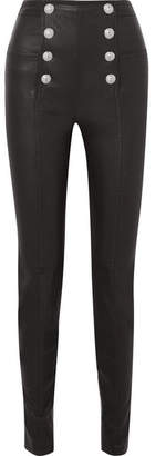 Balmain Button-embellished Leather Skinny Pants - Black