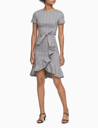 Calvin Klein Plaid Tie Belt Ruffle Hem Dress