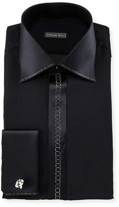 Stefano Ricci Crystal-Placket Silk French-Cuff Tuxedo Shirt