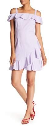 Donna Morgan Ruffle Cold Shoulder Minidress