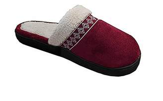 Isotoner Women's Ariana Microsuede Clog Slipper, Red, 8.5-9