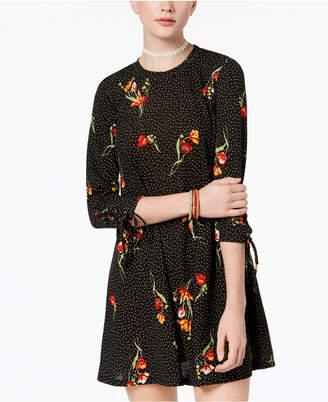 Heart And Soul Juniors' Printed Tie-Sleeve Dress