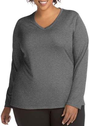 Just My Size Active Long Sleeve Cool Dri V-Neck Tee