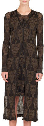 Akris Button-Front Fruits of Vienna Metallic Jacquard Long Cardigan w/ Side Slits