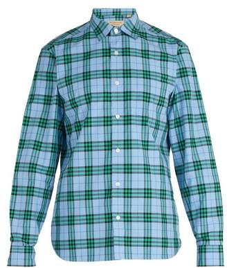 Burberry Point Collar Checked Cotton Shirt - Mens - Blue Multi
