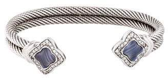 David Yurman 18K Chalcedony & Diamond Quatrefoil Double Cable Bracelet
