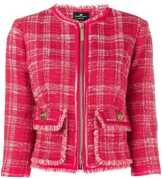 Elisabetta Franchi checked tweed jacket