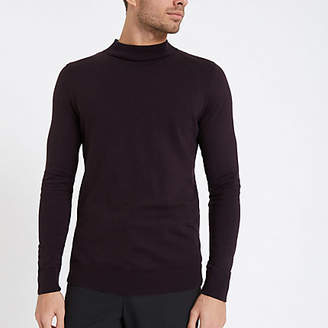 River Island Burgundy muscle fit turtle neck jumper