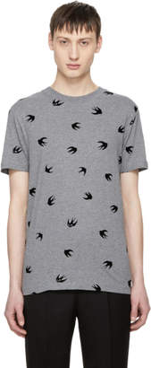 McQ Grey and Black Swallow T-Shirt