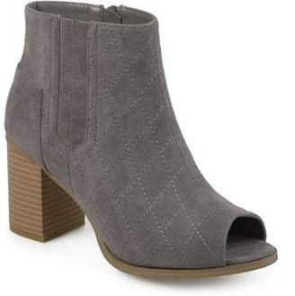 Co Brinley Womens Stacked Heel Open Toe Quilted Booties